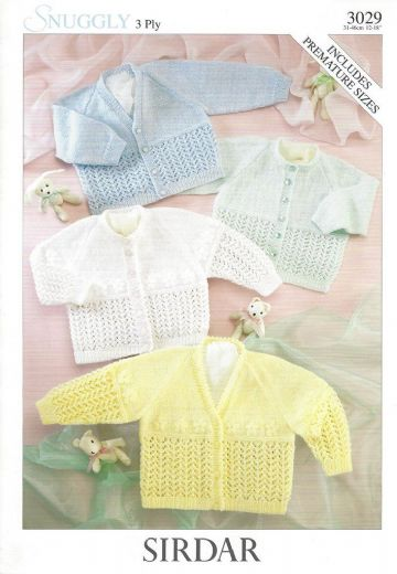 Sirdar Snuggly 3 ply Knitting Pattern 3029, Cardigans , 12-18 ins